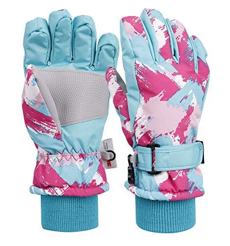 Livingston Kids Winter Sportswear Waterproof Ski Gloves, Doodle_Blue, Medium