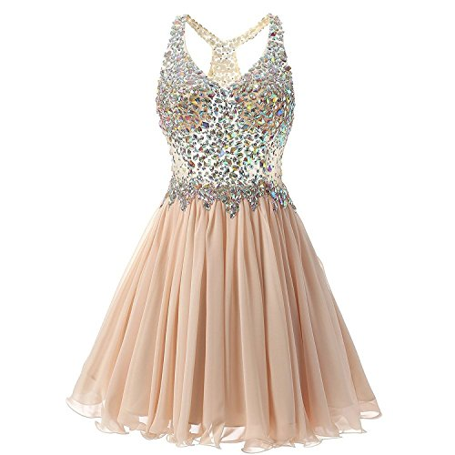 (ANNA&CHRIS Womens Mini Party Dress Beading Evening Bridesmaid Homecoming Gown Beige)