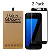Galaxy S7 Edge Screen Protector,Daker Full Coverage Anti-Scratch, Anti-Fingerprint, Easy to Install Curved Tempered Glass Screen Protector for S7 Edge (2 Pack Black)