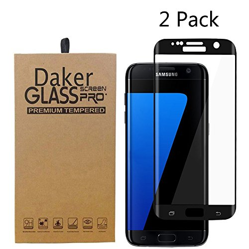 Galaxy S7 Edge Screen Protector,Daker Full Coverage Anti-Scratch, Anti-Fingerprint, Easy to Install Curved Tempered Glass Screen Protector for S7 Edge (2 Pack Black) by Daker