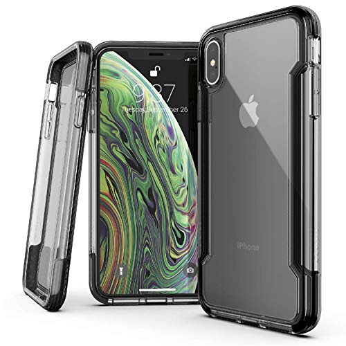X-Doria Defense Clear Series, iPhone Xs Max Case - Military Grade Drop Protection, Shock Protection, Clear Protective Case for iPhone Xs Max, 6.5 Inch Screen (Black)