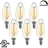 Dimmable LED Candelabra Bulbs,E12 LED Filament Bulbs,C35 Candle Light Bulbs,2700K Warm White,2W(20 Watt Incandescent Bulbs Replacement),UL Listed,Pack of 6