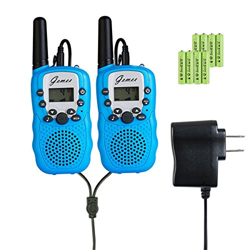 Rechargeable Walkie-Talkies - GEMEE 1 Pair UHF462-467MHz 22 Channel FRS/GMRS Two-Way Raidos Walkie Talkies with Rechargable Batterry and Charger - 2 Pcs (Blue) ()