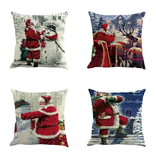 FarJing Christmas Pillow Cases, 4PC Christmas Decorative Cotton Linen Sofa Car Home Waist Cushion Cover Throw Pillow Case (45cm45cm, I)