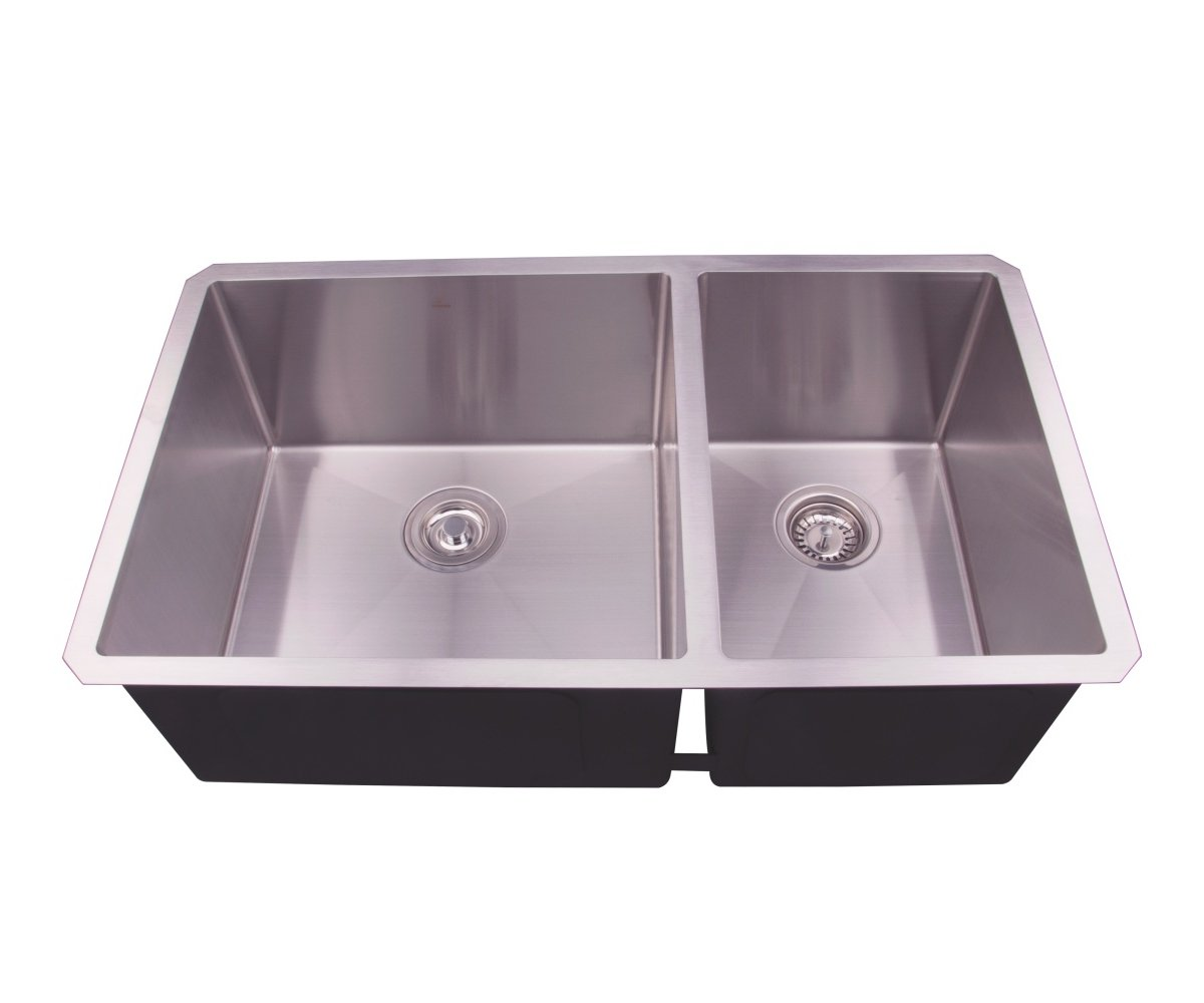 33 Undermount Double Bowl Stainless Steel Deep Basin Kitchen Sink with Grid and Strainer,60 40,D3319B