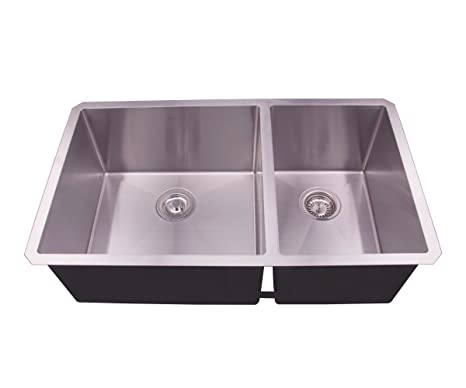 Undermount Double Kitchen Sink.33 Undermount Double Bowl Stainless Steel Deep Basin Kitchen Sink With Grid And Strainer 60 40 D3319b