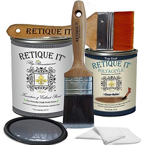 Retique It Chalk Furniture Paint by Renaissance DIY, Poly Kit, 06 Greystone, 32 Ounces