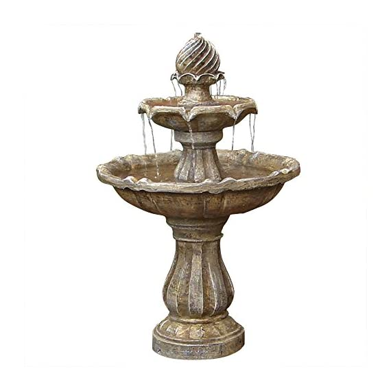 Sunnydaze 2-Tier Solar Powered Outdoor Water Fountain with Battery Backup - Outdoor Garden and Patio Decor Waterfall Feature - Earth Finish - 35 Inch - PERFECT SIZE WATER FEATURE: 23 inch diameter x 34.5 inches tall and weighs 30 pounds; 10-inch diameter base; Solar panel measures 8.6 inches high x 7.4 inches long; Recommended water capacity of 3 gallons; Pedestal is 16 inches tall; Height to bottom bowl is 21 inches; Top bowl has 13-inch diameter ENGINEERED TO LAST: Constructed of durable resin and fiberglass to ensure that it is long lasting; Solar panel is small enough to easily mount to nearly any surface INCLUDES: Solar panel with rechargeable battery pack, compatible submersible water pump, and 16 foot power cord so it can be installed in a convenient location - patio, outdoor-decor, fountains - 51yYW21RkhL. SS570  -