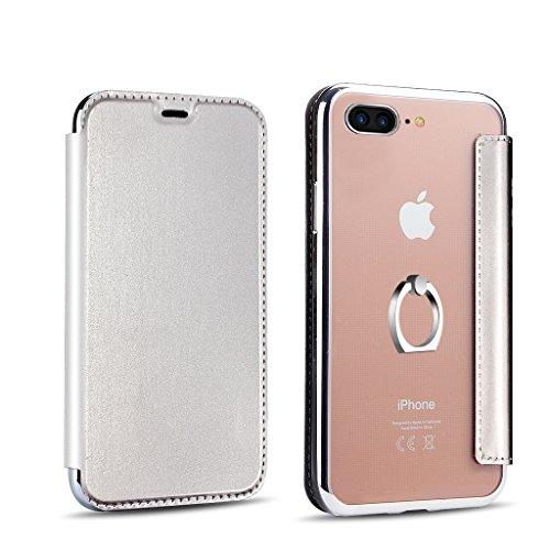 PHEZEN iPhone 7 Plus Case,iPhone 8 Plus Case Flip Case, iPhone 7 Plus/iPhone 8 Plus Pu Leather Wallet Case,Luxury Plating Transparent TPU Rubber Back Case with Ring Holder Kickstand -Silver by PHEZEN