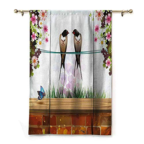 Bedroom Shading Roman Drapes,Nature,Garden with Brick Wall Two Cute Swallows Butterfly Blooming Spring Flowers Clear Sky,Multicolor