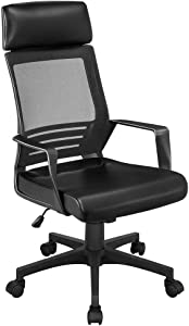 YAHEETECH Mesh Office Desk Chair with Lumbar Support, High Back Ergonomic Adjustable Computer Chair, Leather Padded Seat Swivel Chair Black