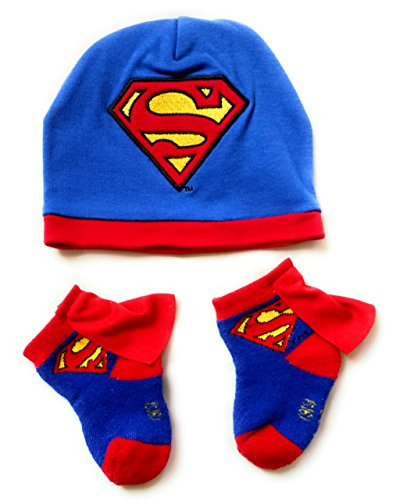 Superman Infant Baby Toddler Cape Socks and Beanie Hat Bundle 0-12 Months (Superman Adult Onesie)