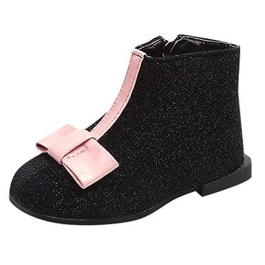 Fossen 1-6 años Niña Botines de Cuero Botas Princesa Arco Zapatos con Cremallera: Amazon.es: Ropa y accesorios