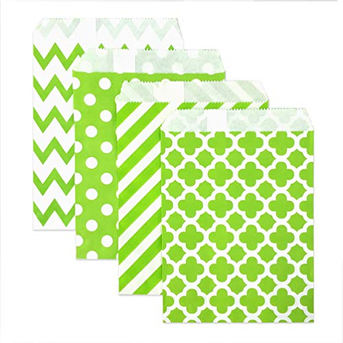 KEYYOOMY 100 Pcs Candy Buffet Bags Small Paper Treat Bags (Lime Green, 5 inch X 7 inch) ()