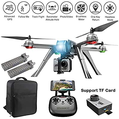 ElementDigital MJX Bugs 8 Pro Drone with 720P Camera Video FPV RC Drone Kit 6-Axis Gyro Brushless Motor, Quadcopter for Kids Beginners Adults, Angle/Acro 3DFlips, Bonus Battery Screen Goggles from ElementDigital