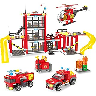 City Police, City Fire Station Building Set, City Fire Rescue Toy Truck Building Kit with Firefighter Toys & Helicopter, Storage Box with Baseplates Lid, Present Gift for Kids Boys Girls 6-12