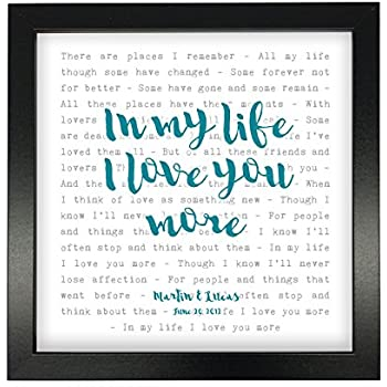 Amazon.com: The Beatles, In My Life, Song Lyrics Print Framed ...