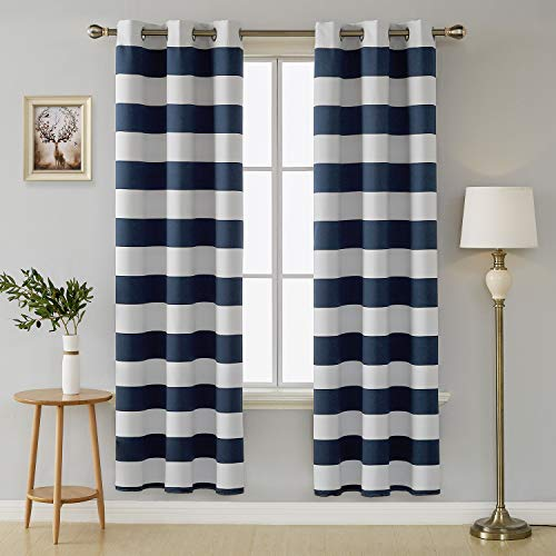 Deconovo Navy Blue Room Darkening Curtains Grommet Sun Blocking Curtains Navy and Greyish White Striped Curtains for Windows 42W X 72L Navy Blue (White And Curtains Navy)