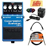 Boss CS-3 Compressor/Sustainer Bundle with Power Supply, Instrument Cable, Patch Cable, Picks, and Austin Bazaar Polishing Cloth
