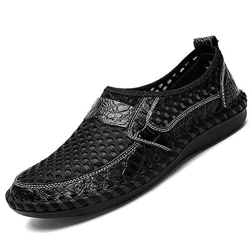 43 per Sandali da di grandi Morbida Scarpe Nero Colore Mocassini Mesh guida Nero suola dimensioni Fuxitoggo EU Dimensione uomo piatti Outdoor zfxw4q4n