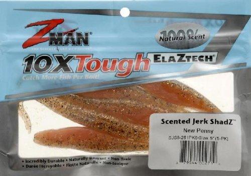 Z-Man Scented Jerk ShadZ Bait, New Penny, 5-Inch, Outdoor Stuffs