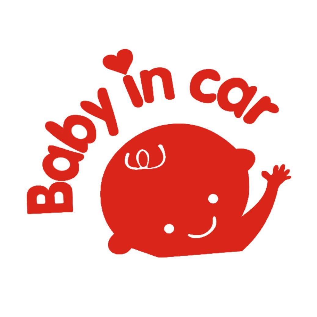 Wenjuan Baby in Car Waving Safety Sign Car Decal Sticker Pattern Truck Side Sticker (Red)