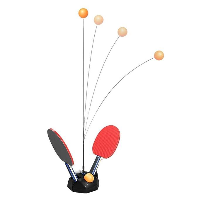 NAKELUCY Equipo de Entrenamiento de pádel Equipo de Rebote Robot, Entrenador de Tenis de Mesa de visión de Eje Blando elástico móvil, Altura Ajustable ...