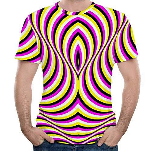 Men Funny Shirt 90s Vintage Disco Stripes 3D Printed Fashion Graphic T-Shirt Short Sleeve Summer Pullover Tops(S,Yellow)