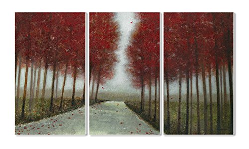 Stupell Home Décor 3 Piece 'October Drive ' Triptych Wall Plaque Set, 11 x 0.5 x 17, Proudly Made in USA