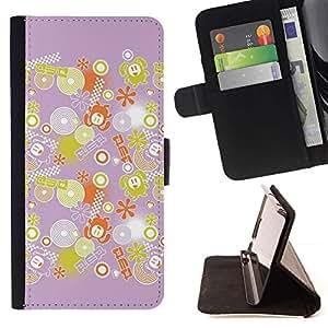 For Sony Xperia M2 Case , Decoración Rosa Amarillo Patrón- la tarjeta de Crédito Slots PU Funda de cuero Monedero caso cubierta de piel