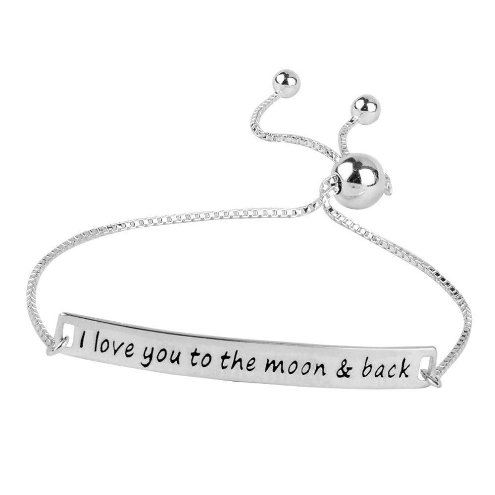 8147a1fb87ef4 Amazon.com: LeCalla Sterling Silver Jewelry Love You To The Moon and Back  Sliding Bolo Bracelet for Girl Women: Jewelry