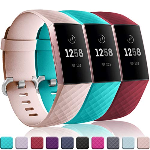 Wepro Bands Replacement Compatible Fitbit Charge 3 for Women Men Small, 3 Pack Sports Watch Band Strap Waterproof Wristband for Fitbit Charge 3 SE Fitness Tracker, Teal, Pink Sand, Wine Red