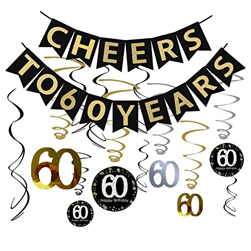 Tuoyi 60th Birthday Party Decorations KIT - Cheers to 60 Years Banner, Sparkling Celebration 60 Hanging Swirls, Perfect 60 Years Old Party Supplies 60th Anniversary Decorations