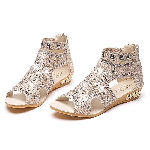 Start Women Summer Beaded Flower Flats Herringbone Sandals Beach Shoes (6.5 B(M) US, 2018 New Beige)