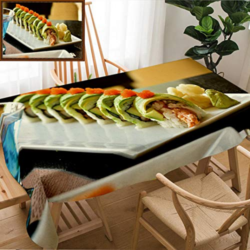(Unique Custom Design Cotton and Linen Blend Tablecloth Dragon Roll Sushi Roll American Style Shrimp Tempura Cucumber Crab Stick Wrapped with AcovadoTablecovers for Rectangle Tables, 60