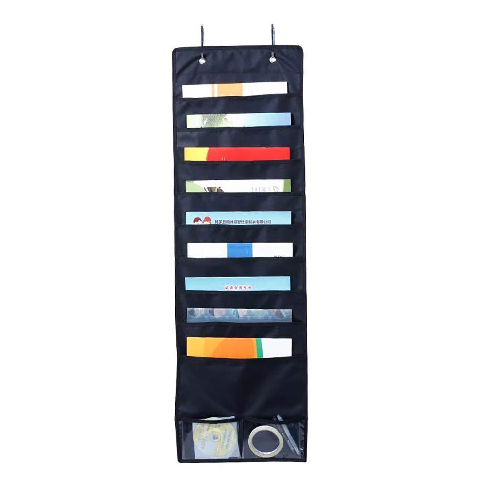 Wall Storage Pocket Chart File Folder Pocket Chart with 11 Pockets, Wall Hanging File Organizer Folder for Office, Home, School, Studio (Door Hangers Included) SND19 (Black)