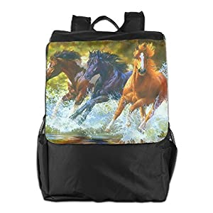 Horse RunningWater Splash Outdoor Travel Hiking Backpack Daypacks Casual Shoulders Bag Unisex