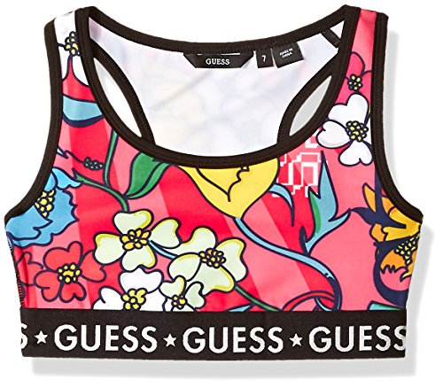 GUESS Girls' Big' Aimee Active Flower Print Sports Bra Top, Pink Combo, - Bra Guess Print