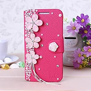 QYF New Luxury Rose Cherry Tassel Peral Rhinestone Leather Case for Samsung Galaxy S4 i9500