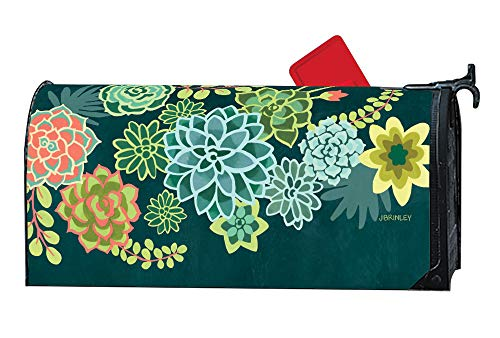 Mailbox Wrap - MailWraps Studio M Boho Succulents Decorative Spring Summer, The Original Magnetic Mailbox Cover, Made in USA, Superior Weather Durability, Standard Size fits 6.5W x 19L Inch Mailbox