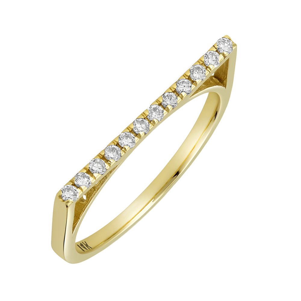 1.5mm 14K White Gold, Yellow Or Rose Gold 0.15 cttw Diamond Pave Flat Top Stackable Ring (Size 2 to 13), 8