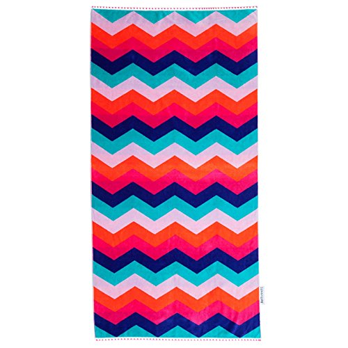 SunnyLIFE Luxe Oversize XL Rectangle Cotton Towel Printed Beach Blanket Pool Throw - Wategos, Large by SunnyLIFE