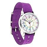 EasyRead Time Teacher Kinderuhr, 12- & 24-Stunden Uhrzeit, Regenbogenfarben, Violettes Armband