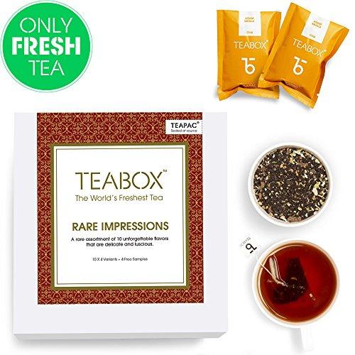 (Teabox Rare Impressions Premium Tea Pack | 10 RARE, INDULGENT AND EXOTIC VARIETIES | Box of 40 Tea Bags (+ 4 Free Samples))