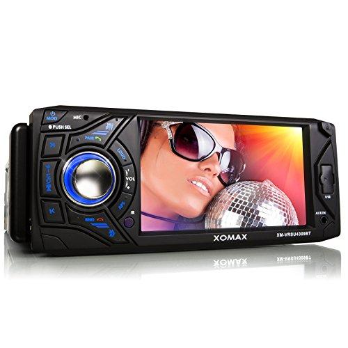 XOMAX XM-VRSU4309BT Autoradio mit Bluetooth Freisprechfunktion + 11 cm/ 4,3 Zoll Touchscreen Display + USB Anschluss + SD Kartenslot + AUX IN + Singel DIn / 1 DIN Standard Einbaugröße inkl. Fernbedienung, Einbaurahmen
