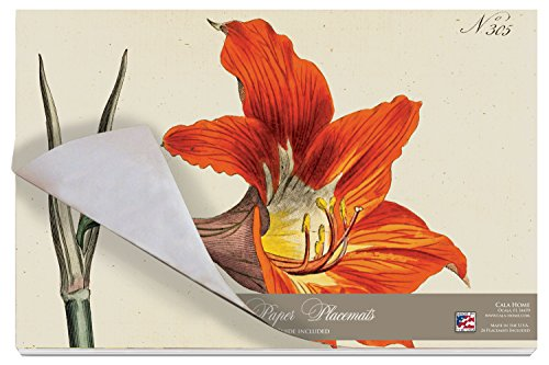 (Cala Home 24-Pack Disposable Paper Placemats, Williamsburg Botanical Lilies )