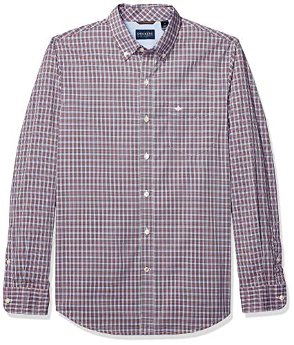 Dockers Men's Long Sleeve Button Front Comfort Flex Shirt, Charlton Sunset Orange Plaid, 2X-Large (Shirt Button Mens Front)