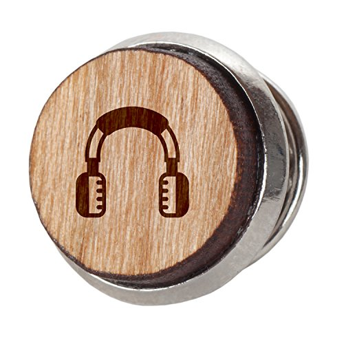 - Headphones Stylish Cherry Wood Tie Tack- 12Mm Simple Tie Clip With Laser Engraved Design - Engraved Tie Tack Gift