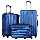 Coolife 3 Piece Luggage Suitcase Hardside Spinner set with TSA 20 inch 24 inch 28 inch Carried on Trunk(blue)