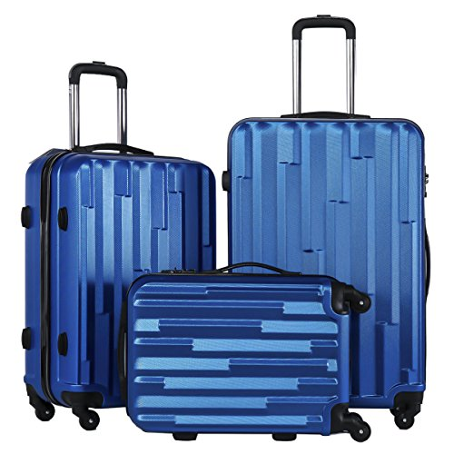 [Coolife 3 Piece Luggage Suitcase Hardside Spinner set with TSA 20 inch 24 inch 28 inch Carried on Trunk(blue)] (20